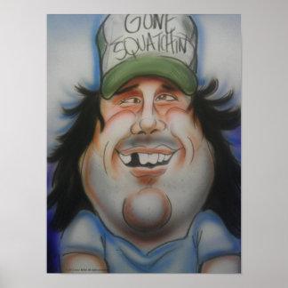 Bobo Bigfoot Caricature Print