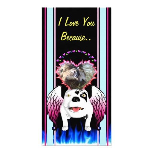 Bobo the Devil Dog does Angel Photo Greeting Card