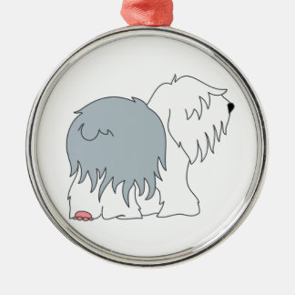 Bobtail Sheepdog Silver-Colored Round Ornament