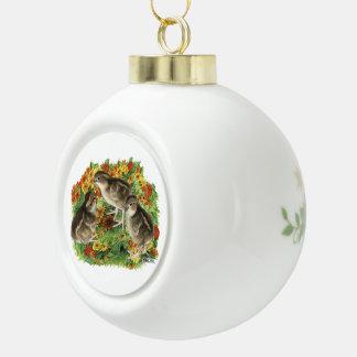 Bobwhite Garden Chicks Ceramic Ball Christmas Ornament