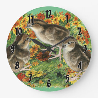 Bobwhite Garden Chicks Large Clock