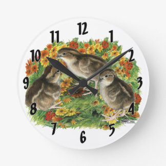 Bobwhite Garden Chicks Round Clock