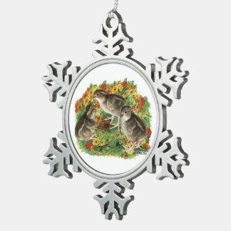 Bobwhite Garden Chicks Snowflake Pewter Christmas Ornament