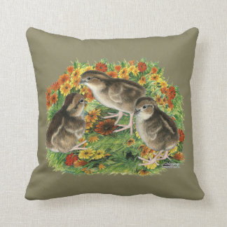 Bobwhite Garden Chicks Throw Pillow