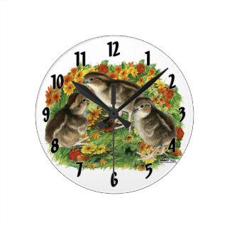 Bobwhite Garden Chicks Wall Clocks