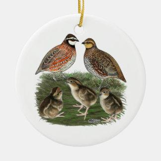 Bobwhite Quail Family Ceramic Ornament