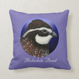 Bobwhite Quail Head Circle Throw Pillow
