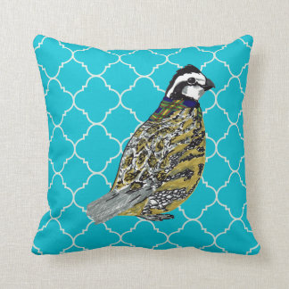Bobwhite With Teal and Orange Quatrefoils Throw Pillow