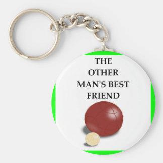 bocce basic round button keychain