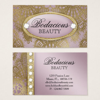 Bodacious Beauty Makeup Lace Diamond Mauve Gold 2 Business Card