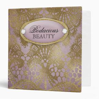 Bodacious Beauty Mauve Gold Lace 3 Ring Binder