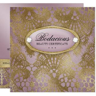 Bodacious Beauty Mauve Gold Lace Gift Certificate Card