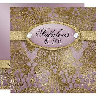 Bodacious Birthday Party Fifty Mauve Gold Lace Card