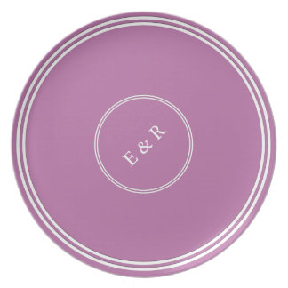 Bodacious Orchid Lilac with White Wedding Detail Plate