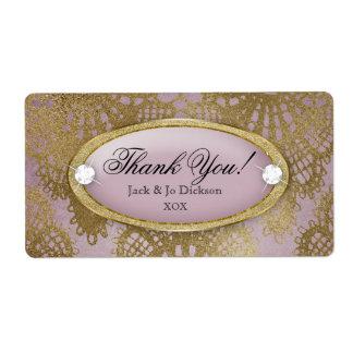 Bodacious Wedding Mauve Gold Lace Thank You