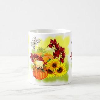 Bodegón of autumn: pumpkins, candles, sunflowers, coffee mug