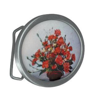 Bodegón of flowers/Still life of flowers Oval Belt Buckle