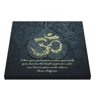 Bodhi Leaf & Gold OM Symbol Yoga Meditation Quotes Canvas Print