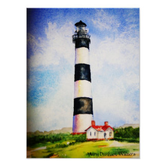 Bodie Lighthouse  watercolor by Mary Dunham Walter Poster
