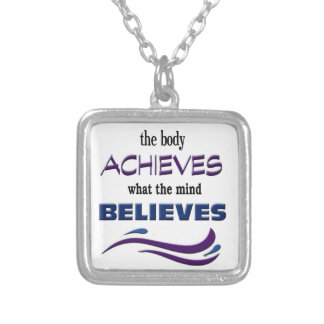Body Achieves, Mind Believes Silver Plated Necklace
