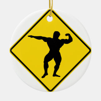 """Body Builder 1"" design Ceramic Ornament"