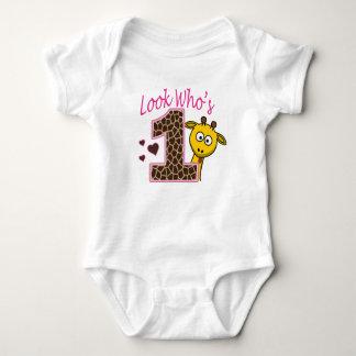 Body Chemise de bébé d'anniversaire de fille de girafe