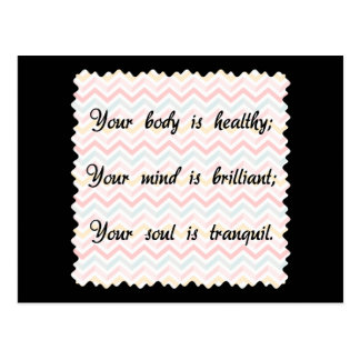 Body Mind Soul Affirmation Postcard