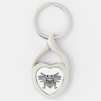 Body Part Monster Illustration Silver-Colored Twisted Heart Keychain