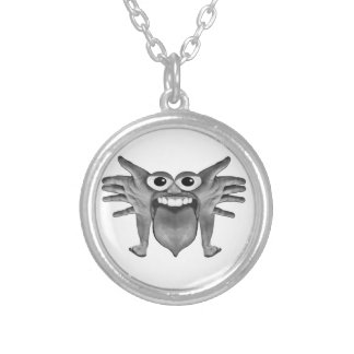 Body Part Monster Illustration Silver Plated Necklace