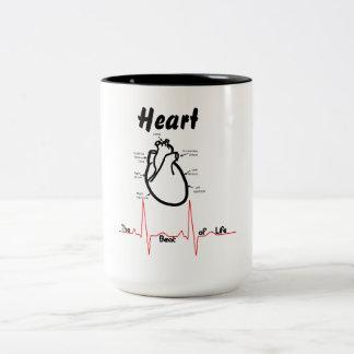 Body Parts -- Human Heart Two-Tone Coffee Mug