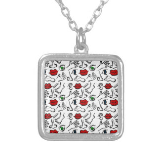 Body parts silver plated necklace