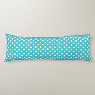Body Pillow - Curacao Blue Polka Dot Pattern