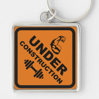Body Under Construction Silver-Colored Square Keychain