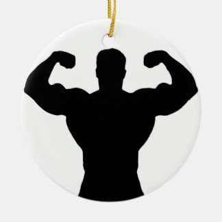 bodybuilder flexing muscles round ceramic ornament