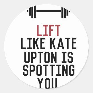 bodybuilder_kate upton classic round sticker