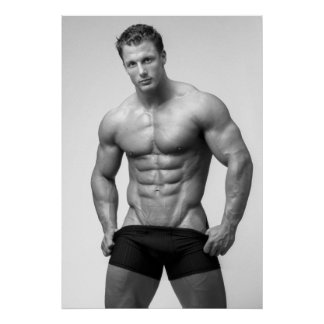Bodybuilder Showing Abs Poster