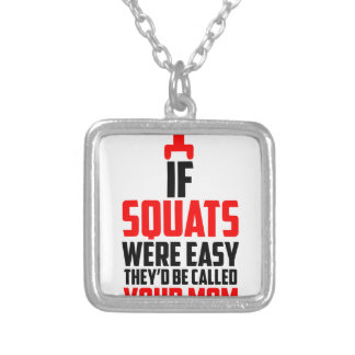 bodybuilder squats silver plated necklace