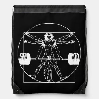 Bodybuilding - Vitruvian Barbell Man Drawstring Bag