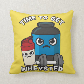 Bodybuilding Workout - Time To Get Wheysted Throw Pillow