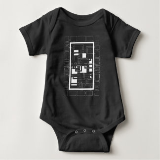"""Bodystocking baby """"Labyrinth of squares"""" black and Baby Bodysuit"""