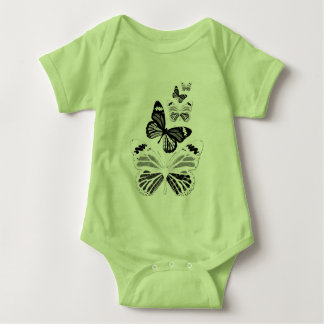 Bodystocking green baby, butterflies baby bodysuit