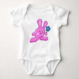 Bodystocking white baby - Pink Rabbit Baby Bodysuit