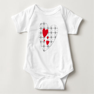 Bodystocking white baby with red heartwoods of baby bodysuit