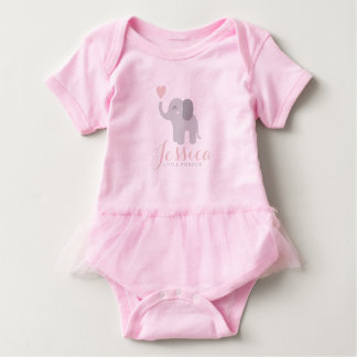 Bodysuit Baby Girl Pink Tutu Elephant Heart Name