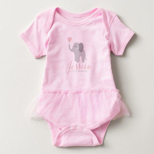 ccae9e1ef Bodysuit Baby Girl Pink Tutu Elephant Heart Name | Zazzle.ca
