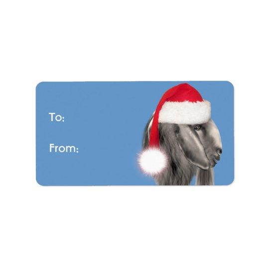 Boer Buck  Goat  Santa Goat Christmas Gift Tag