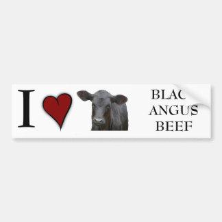 Boeuf noir d'Angus - conception de coeur d'amour d Autocollant De Voiture