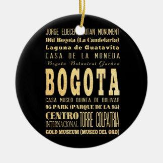 Bogota City of Colombia Typography Art Ceramic Ornament