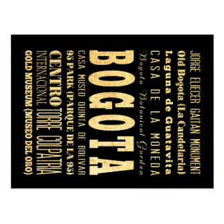 Bogota City of Colombia Typography Art Postcard