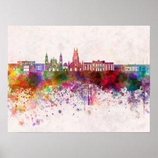 Bogota skyline in watercolor background v2 poster